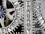 Macro photo of tooth wheel mechanism with ENVIRONMENT, ECONOMY and SOCIETY words imprinted on metal surface